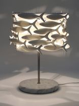 Table lamp / original design / ceramic / marble