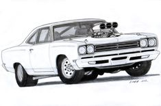 1969 Plymouth Roadrunner Drawing by Vertualissimo.deviantart.com on @deviantART