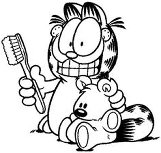 Garfield And Toothbrush Coloring Pages Free