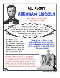 Abraham Lincoln Facts, Abraham Lincoln For Kids, Abraham Lincoln Biography, Abraham Lincoln History, 5th Grade Worksheets, Kindergarten Worksheets, Printable Worksheets, Printables, Free Worksheets