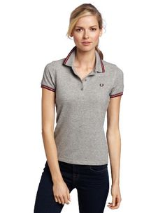 b19eb35d Fred Perry Women's Twin Tipped Shirt, Steel Marl/Maroon, « Impulse Clothes  Casual