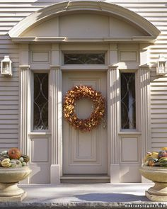 Martha Stewart's front door, perfect to greet Thanksgiving guests!