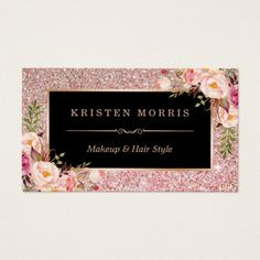 Floral Rose Gold Glitter Makeup Artist Hair Salon Business Card - tap, personalize, buy right now! Bakery Business Cards, Salon Business Cards, Hairstylist Business Cards, Custom Business Cards, Business Card Design, Creative Business, Beauty Business Cards, Makeup Artist Business Cards, Cadre Photo Booth