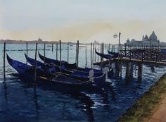 Watercolour of the gondola station on the Molo, Venice as the sun was about to set.