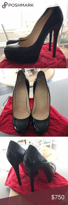 Christian Louboutin Bianca Black Patent Pumps Excellent condition! Only worn a handful of times. Includes red protective soles ($35 value), dust bag, and original box. Christian Louboutin Shoes Heels