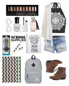 """""""Back to school #4"""" by lexyfo ❤ liked on Polyvore featuring Boohoo, Herschel Supply Co., Bobbi Brown Cosmetics, Forever 21, Chicwish, Deborah Lippmann, Marc by Marc Jacobs, Pilot, J.Crew and Henri Bendel"""