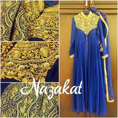 Perfect for the season ❤️ We are in love with this piece 💕 A pretty navyblue center slit anarkali kurta  with the bling of golden zardozi detailing! Teamed up with brocade pants! What do you think of this one? Now this piece can be done in any colour or we can take inspiration from this and create something new for you! DM or whatsapp for details Shipping worldwide For more designs and updates follow us on facebook at: www.facebook.com/nazakatjal #navyblue #blue #navy #brocade #antique…