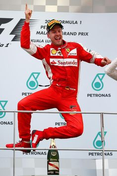 Top Step for Sebastian Vettel at the #F1 2015 Petronas Malaysian Grand Prix
