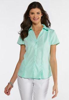 b8155d43df88c Short Sleeve Pleated Shirt Shirts   Blouses Cato Fashions Cato Fashion Plus  Size