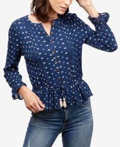 ff2595641b5903 Lucky Brand Cotton Peplum Blouse   Reviews - Tops - Women - Macy s