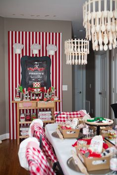 From classic red and white gingham decor to the pizza chef mustaches (perfect for the mustache trend), this party had every element that a pizza party needed.  The dessert table even included candy and desserts that looked like pizza ingredients and Italian appetizers.