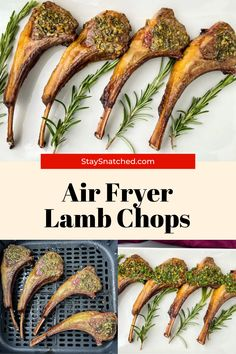 This Juicy Air Fryer Lamb Chops recipe will provide you all of the tips and tricks you need to prepare a rack of chops or loin chops. These chops are seasoned with rosemary, garlic, oregano, and olive oil. Air Fry Recipes, Lunch Recipes, Breakfast Recipes, Dinner Recipes, Healthy Recipes, Lamb Chop Recipes, Loin Chops, Air Fryer Healthy, Chops Recipe