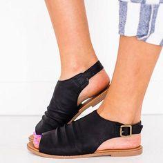 58742502082636 WOMEN PU SANDALS PEEP TOE STYLE PLUS SIZE FLAT SANDALS  Sandals  Leatrend