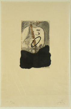 Artist Antoni Tàpies  title: Tête de mort et trois,  technology: Etching and aquatint