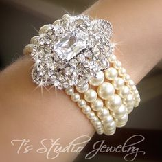 CAMILLE Pearl Cuff Bridal Bracelet - from T's Studio Jewelry
