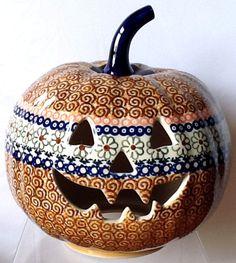 "Polish Pottery 9"" Halloween Pumpkin Jack O' Lantern Unikat EOS Early October   eBay"