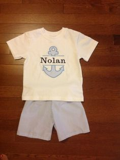 Listing for 2 outfits Green Black or blue seersucker boys baby anchor font appliqué shirt and shorts set personalized NB-8