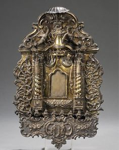 Important Silver and Silver-gilt Synagogue Ark-form Hanukkah Lamp, Auctioned for 314,000