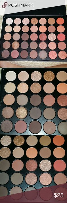 35o palette Not morphe. But are made of the same exact ingredients as morphe palettes. Google morphe pro palette ingredients and compare to my picture. No brand, but morphe just prints their names of the palettes anyways. Swatched probably 10 of the shadows. Will only be up for a week, and if no one purchases, it will go down. More pictures in another post. The colors are more brown, in real life. I took the pics with flash morphe Makeup Eyeshadow