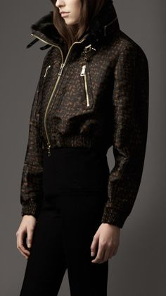 Burberry Animal Jacquard Cropped Bomber Jacket with Fur Collar in Brown (dark camel)