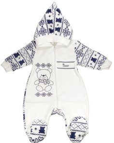 "Pyjama ""Nounours de Noël"" bébé garçon bleu - Trousseau naissance"