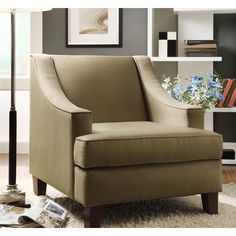 TRIBECCA HOME Winslow Taupe Concave Arm Modern Accent Chair   Overstock.com Shopping - Great Deals on Tribecca Home Chairs, $312.99
