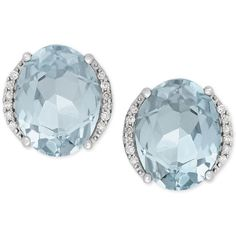 Aquamarine 3 Ct T W And Diamond Accent Stud Earrings In 14k White