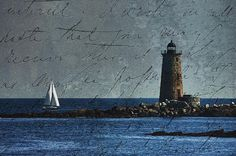 Whaleback lighthouse just off the NH coast