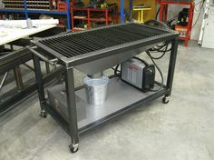 x plasma cutting table with a funnel design under it to direct all the dust, debris, and slag into a metal pail. – metal of life Welding Bench, Welding Cart, Welding Shop, Diy Welding, Metal Welding, Welding Design, Metal Projects, Welding Projects, Welding Ideas