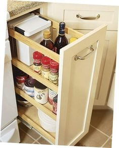 Kitchen Cabinet Pull Out Drawers - When renovating or remodeling a kitchen your choice of kitchen cabinets might be. Finish Kitchen Cabinets, Kitchen Cabinet Pulls, Kitchen Cabinet Design, Kitchen Storage, Kitchen Racks, Grand Kitchen, Mini Kitchen, Luxury Kitchen Design, Luxury Kitchens