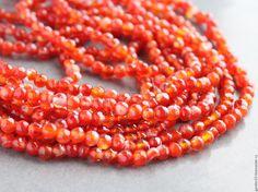 Купить СЕРДОЛИК ОГРАНКА 4мм №163 - рыжий, Сердолик, сердолик бусины, сердолик камни бусины