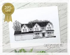 Custom House Sketch, New Home Gift, Black and White, Personalized House Drawing, Housewarming Gift, First Home, New Home Owner, Realtor Gift