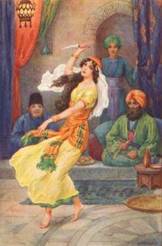 "Illustrated by Harry G. Theaker.  From ""Ali Baba and the Forty Thieves"", this is captioned ""Morgiana seized the dagger and danced wildly."""