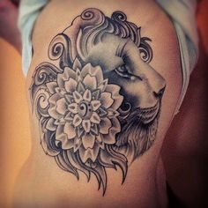 Lion and flower