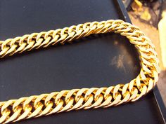 """103g Burly men's 24k solid yellow gold GF Thick necklace chain 23.6""""  11 mm wide Unconditional Lifetime Replacement Guarantee //Price: $40.00 & FREE Shipping // Get it here ---> http://bestofnecklace.com/103g-burly-mens-24k-solid-yellow-gold-gf-thick-necklace-chain-23-6-11-mm-wide-unconditional-lifetime-replacement-guarantee/    #jewellery"""