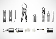 The EDC Kit comes with a pry bar, screwdrivers, precision tweezers, waterproof lighter and a titanium key ring. All tools weigh less than 2 ounces combined. Made in USA.    Buy it here