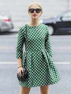Pleated skirt - 3/4 sleeve / heavier fabric