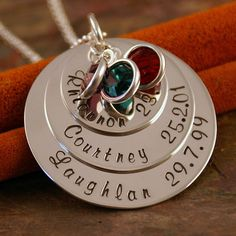 Hand Stamped Mommy Jewelry - Personalized Sterling Silver Big Family Layered Necklace - All of us. $90.00, via Etsy.