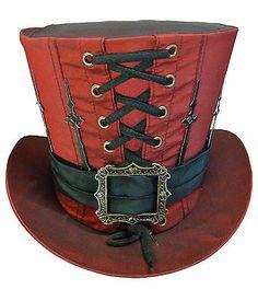 Steampunk madhatter HAND MADE colore rosso in taffetà TOP HAT con le mani CLOCK | eBay