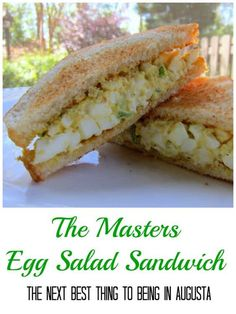 The Masters Egg Salad Sandwich Recipe you can't watch the Masters without eating an egg salad sandwich! This recipe is quick, easy and tastes better than the original! is part of Masters egg salad sandwich recipe - Masters Egg Salad Sandwich Recipe, Egg Salad Sandwiches, Soup And Sandwich, Sandwich Recipes, Lunch Recipes, Great Recipes, Cooking Recipes, Favorite Recipes, Healthy Recipes