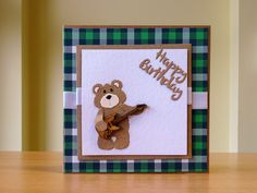 Birthday Card - Cottage Cutz Teddybear Die With Wooden Guitar. For more of my cards please visit CraftyCardStudio on Etsy.com. Bear Card, Teddybear, Snuggles, Handmade Cards, I Card, Cardmaking, Birthday Cards, Craft Projects, Guitar