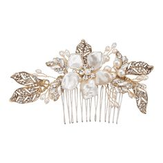 Faux Pearl Shell Wedding Flower Leaf Hair Comb Golden (462.705 IDR) ❤ liked on Polyvore featuring accessories, hair accessories, shell comb, hair combs, seashell hair accessories, flower hair comb and golden hair accessories