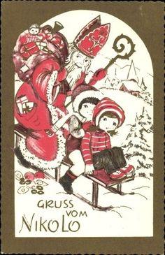 Künstler Ak Frohe Weihnachten, Gruß vom Nikolo, Nikolaus, Schlitte... - 1229577…