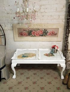 Painted Cottage Chic Shabby White One of A Kind by paintedcottages, $265.00