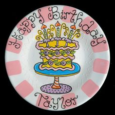 """A Personalized Hand Painted """"Happy Birthday Cake"""" Ceramic Plate by LittleBugCeramics.com, $63.00"""
