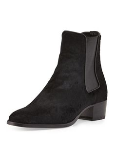 """Saint Laurent Wyatt Calf-Hair Boot, Black $1,345.00, 1.8"""" stacked, round toe"""