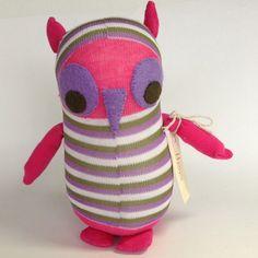 Hoo Owl.  Soft plush toy. Sock animal. Sock monkey.