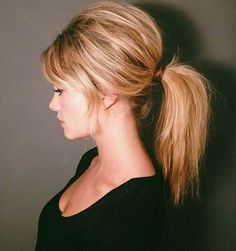 60s Ponytail | Long Hairstyles With Bangs to Embrace Your Inner Zooey Deschanel