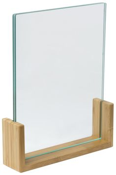 8.5 x 11 Acrylic Sign Holder w/ Bamboo Base, Double-Sided, Bottom Insert - Natural