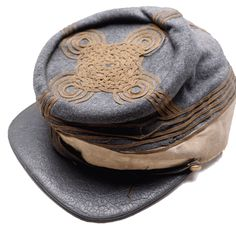 Confederate Officer's Kepi. Four rows of Soutache braid on sides and top indicate General rank.  Buff band for Staff.  c.1861